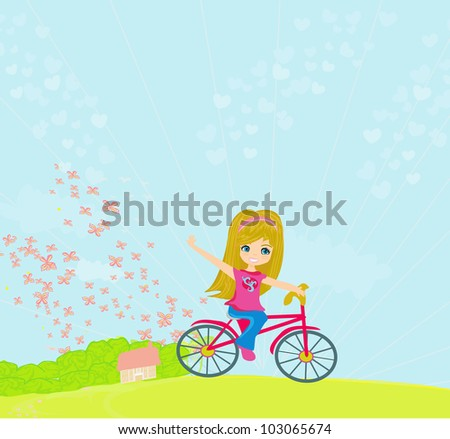 Happy Driving Bike with Cute Smiling Young Girl