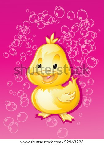 Happy Ducky in Pink Bubbles - stock vector
