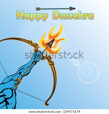 Happy Dussehra card.Lord Rama arm with bow and arrow and fire killing Ravana .Holyday background.Vector