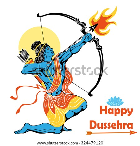 Happy Dussehra card.Lord Rama with bow and arrow killing Ravana .Holyday background.Vector - stock vector