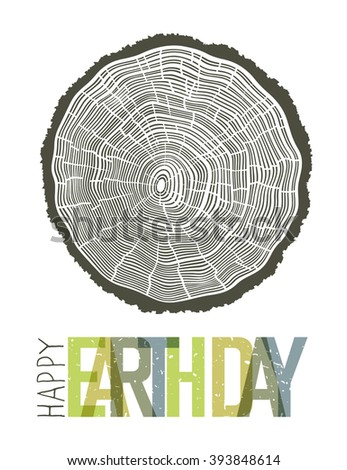 Happy Earth Day Design Concept. Tree rings symbolic illustration - stock vector