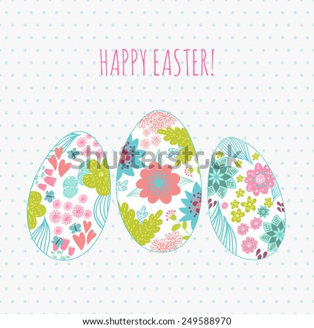 Happy Easter Background card eggs. Place for text  - stock vector