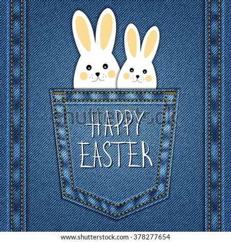 Happy Easter Background on denim texture. - stock vector