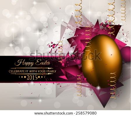 Happy Easter Background with a Colorful Egg with Shadow and greeetings text to use for elegant cards or event invitations or advertisement purposes - stock vector