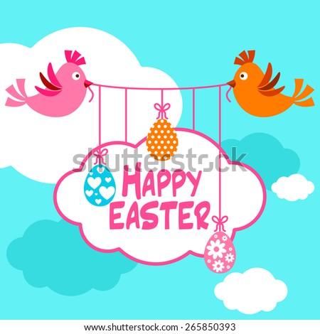 Happy Easter background with birds and hanging easter eggs and cloud shaped frame