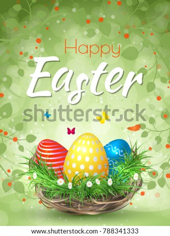 Happy Easter Background Realistic Easter Eggs Stock Vector ...