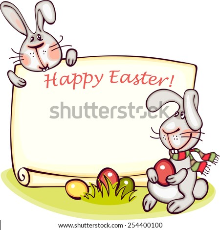 happy Easter banner. Easter bunny and eggs. vector background - stock vector