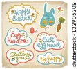 Happy easter banners. Vector Illustration, eps 10, contains transparencies. - stock photo