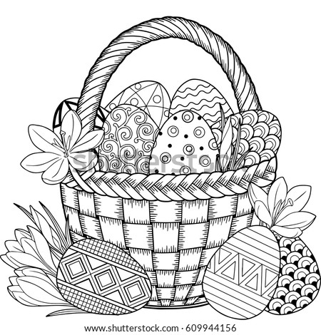 Happy Easter Black White Doodle Easter Stock Photo (Photo, Vector ...