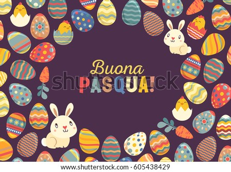 Happy easter bright design card easter stock vector hd royalty free easter bunny and painted eggs greeting card italian m4hsunfo