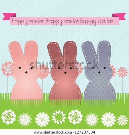 Happy Easter (3 bunnies) on blue background. Vector Illustration - stock vector