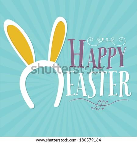 Happy Easter Bunny Ears Vector - stock vector