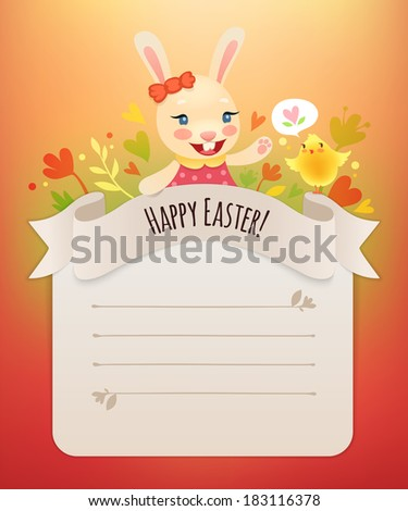 Happy Easter Bunny Girl Greeting Card. In the EPS file, each element is grouped separately. - stock vector
