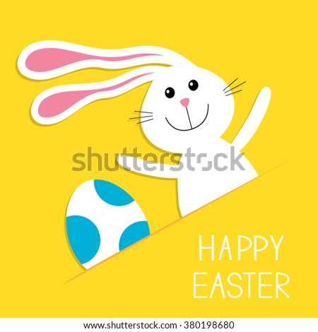 Happy Easter. Bunny rabbit hare and blue painted egg in the paper pocket. Baby greeting card. Yellow background. Flat design. Vector illustration - stock vector