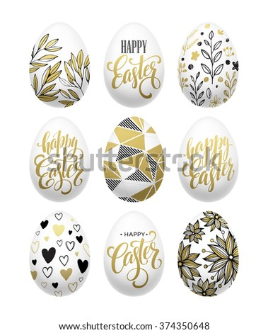 Happy easter.  Calligraphic lettering egg golden effect. Vector illustration - stock vector