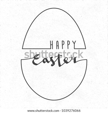 Happy Easter Calligraphic Logo And Egg Shape Outline Combined With Lettering