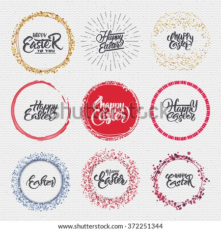 Happy easter - calligraphy typography badge It can be used for postcards, posters, presentations - stock vector