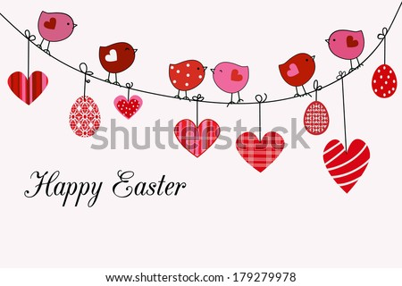 Happy easter card Birds  hearts eggs - stock vector