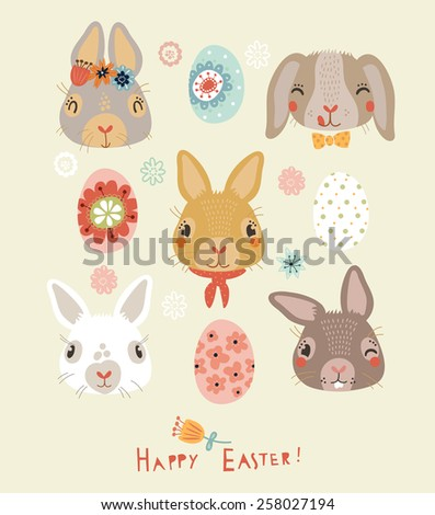 Happy Easter! Card design - stock vector