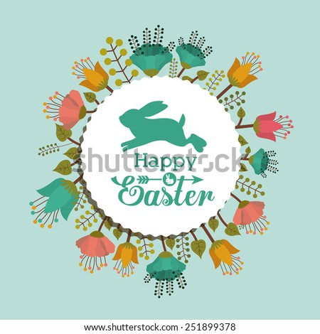 Happy easter card design, vector illustration. - stock vector