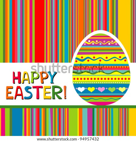 Happy Easter Card. Easter egg. Vector Illustration - stock vector