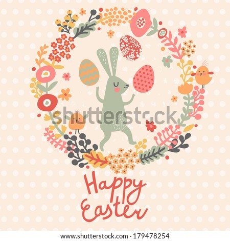 Card in spring colors funny rabbit with holiday eggs in flowers