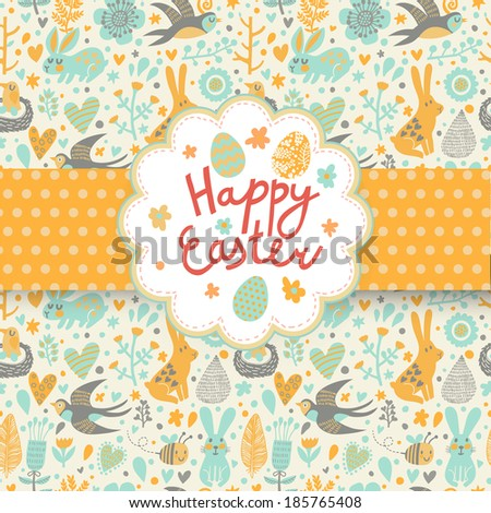 Happy easter card in vector. Funny rabbits, swallow, flowers and eggs in cute cartoon style. Spring seamless texture - stock vector