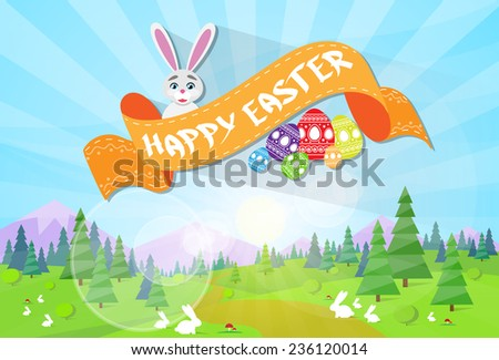happy Easter card spring landscape with green grass eggs tree rabbit blue sky sun morning light vector illustration