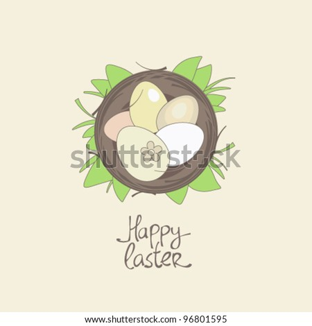 Happy Easter card template, basket with eggs in grass.