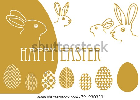 happy easter card template rabbits ornate stock vector 791930359