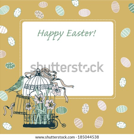 happy easter card with birdcage