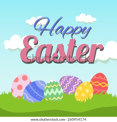 Happy Easter Card Template Basket Colored Vector 96295598 – Happy Easter Card