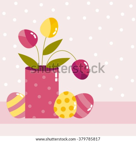 happy easter card with eggs, flowers, vector illustration