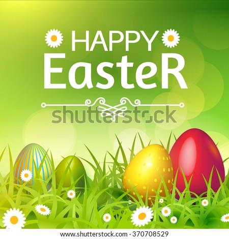Happy Easter Card Eggs Grass Flowers Stock Vector ...