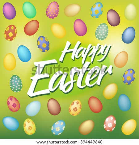 Happy Easter Card with Eggs on green background - stock vector