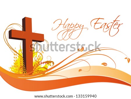 Happy Easter Card with floral decorated cross. - stock vector