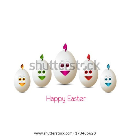 Happy easter cards illustration with easter eggs - stock vector