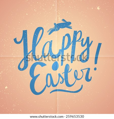 happy Easter cartoon text. Pink vintage Easter card. vector illustration - stock vector