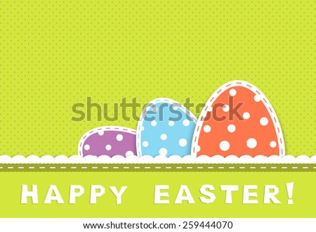 Happy easter celebration card with three colorful eggs in retro colors, textile and paper applique, vector illustration - stock vector