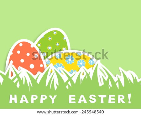 Happy easter celebration card with tree eggs in green grass, pastel colors, vector illustration - stock vector