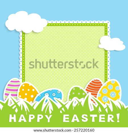 Happy easter celebration postcard - colorful eggs on green grass, blue sky with white cloud, retro green napkin with place for your text,  vector illustration in applique style - stock vector