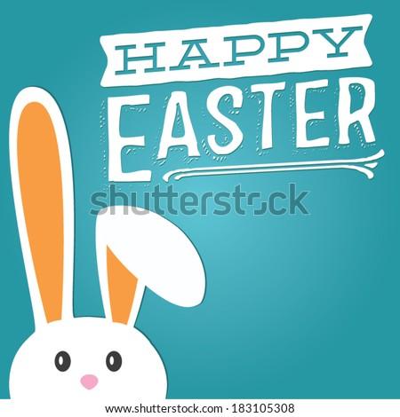 Happy Easter Custom Message Rabbit / Bunny Vector Cute - stock vector