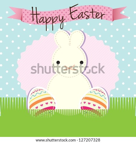 Happy Easter (Cute bunny) on blue background. Vector Illustration - stock vector