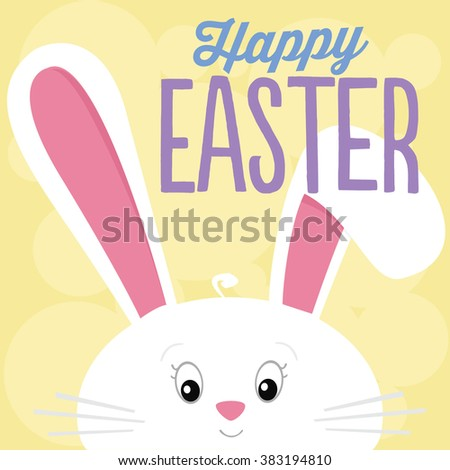 Happy Easter Cute White Easter Bunny on Yellow Background Vector - stock vector