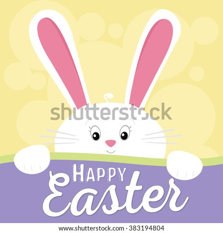 Happy Easter Cute White Easter Bunny / Rabbit on Yellow Background Vector - stock vector