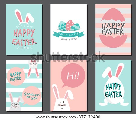 Happy easter day. cute bunny Ears with eggs and text  logo on sweet blue background, can be use for greeting card, text can be added.  layout template in A4 size. vector illustration - stock vector