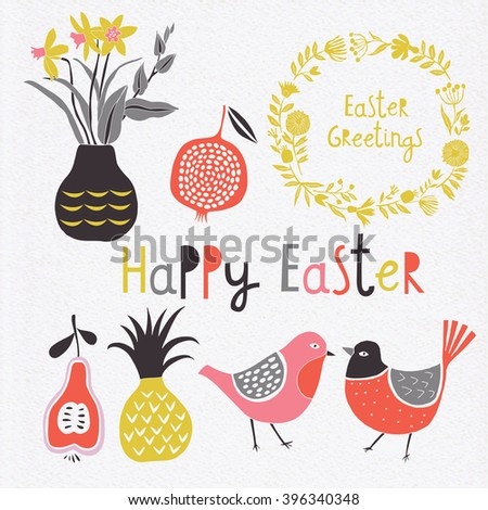 Happy Easter Day. Easter design elements.  - stock vector