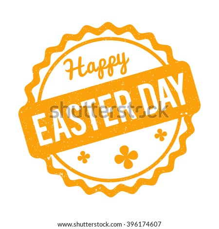Happy Easter Day rubber stamp yellow on a white background.