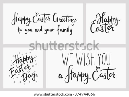 happy easter day simple lettering set stock vector royalty free
