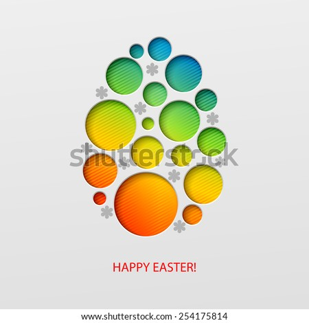 Happy Easter decorated paper egg. Vector illustration - stock vector